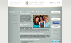 Tigard dental office Great Smiles Tigard FireSpike LLC client uses Portland WordPress websites and programming